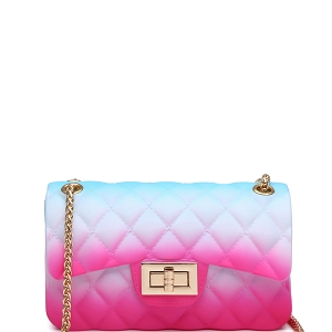 JM9031S Quilted Matte Jelly Small 2 Way Shoulder Bag Multi-B