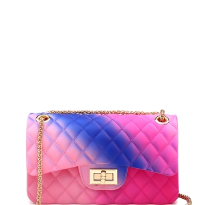 JM9031S Quilted Matte Jelly Small 2 Way Shoulder Bag Multi-E
