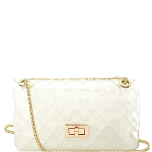 JT9020 Translucent Embossed Jelly 2-Way Medium Shoulder Bag Clear White