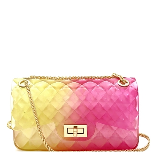 JT9020 Translucent Embossed Jelly 2-Way Medium Shoulder Bag Yellow/Fuchsia