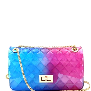 JT9020 Translucent Embossed Jelly 2-Way Medium Shoulder Bag Blue/Fuchsia