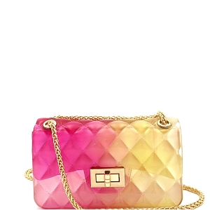 JT9021 Translucent Embossed Jelly 2-Way Small Shoulder Bag Fuchsia/Yellow