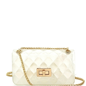 JT9021 Translucent Embossed Jelly 2-Way Small Shoulder Bag Clear White
