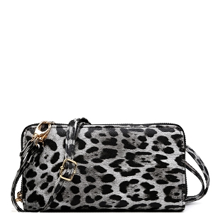 LEO1165A Leopard Print Smartphone-Friendly Crossbody Wallet Black
