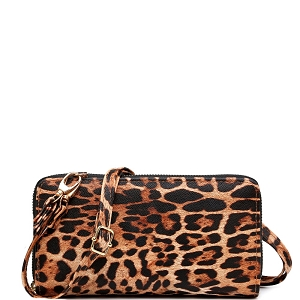 LEO1165A Leopard Print Smartphone-Friendly Crossbody Wallet Brown-1 (Tan)