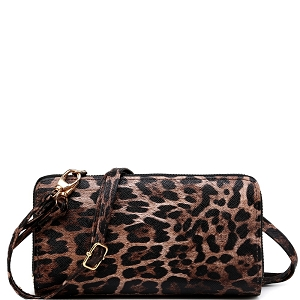 LEO1165A Leopard Print Smartphone-Friendly Crossbody Wallet Brown-2 (Dark)