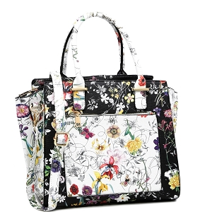 MF1131 Flower Print Multi-Compartment 2-Way Wing Satchel Black/White