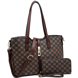 MF2882 Turn-Lock Accent Monogram 2-Way Tote Wallet SET Coffee/Coffee