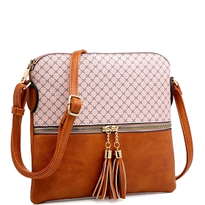 MS1122A Tassel Accent Monogram Print Cross Body Brown/Pink