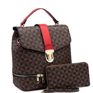 MT2630A Push-Lock 2 in 1 Convertible Monogram  Backpack Satchel Wallet Set Coffee/Red
