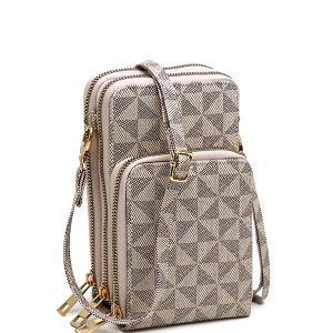 MT3334 Monogram Versatile 3 Compartment Cellphone Holder Cross Body Wallet Taupe