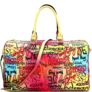 6522Y Graffiti Effect Multicolored Weekender Duffel Bag Multi-A