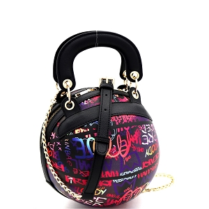 6545Y Graffiti Effect Multicolored Novelty Ball-Shaped 2 Way Satchel Multi-D