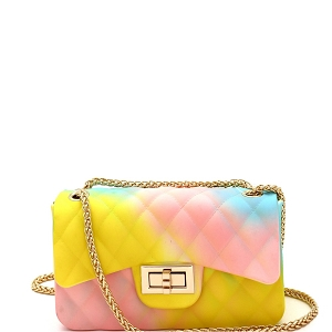 7058Y Multicolored Jelly 2-Way Small Shoulder Bag Multi-C (Pink/Yellow/Blue)