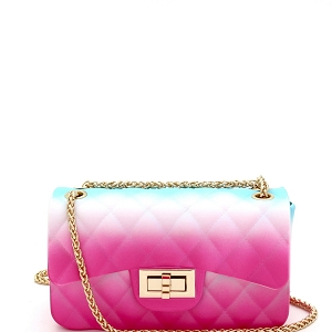 7058Y Multicolored Jelly 2-Way Small Shoulder Bag Multi-B (Fuchsia/Blue)