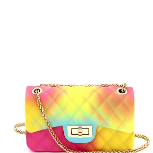 7058Y Multicolored Jelly 2-Way Small Shoulder Bag Multi-A (Fuchsia/Yellow/Green)