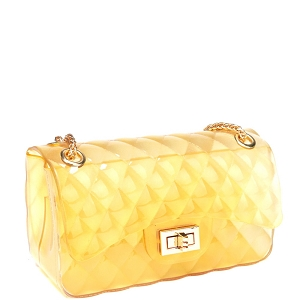 7083Y Translucent Embossed Jelly 2-Way Medium Shoulder Bag Yellow