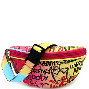 8006Y Graffiti Effect Quilted Pattern Fanny Pack Multi-A