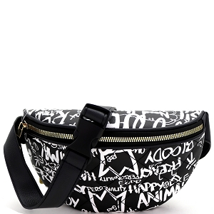 8006Y Graffiti Effect Quilted Pattern Fanny Pack Multi-C