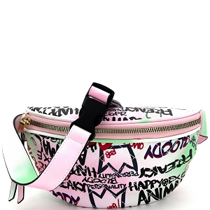 8006Y Graffiti Effect Quilted Pattern Fanny Pack Multi-B