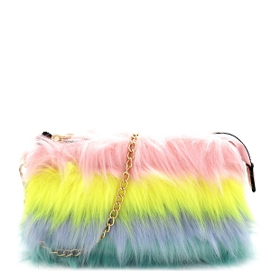 F6540 Multicolor Layered Faux-Fur Chain Crossbody [Match with 9001 Fur Slippers] Multi-C
