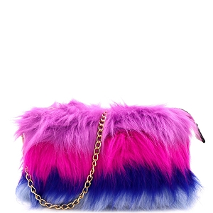 F6540 Multicolor Layered Faux-Fur Chain Crossbody [Match with 9001 Fur Slippers] Multi-D
