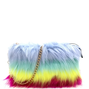 F6540 Multicolor Layered Faux-Fur Chain Crossbody [Match with 9001 Fur Slippers] Multi-B