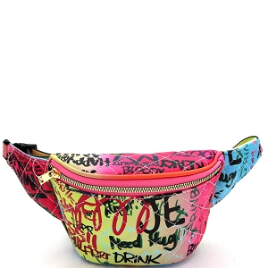 G6538 Graffiti Effect Quilted Pattern Structured Fanny Pack Multi-A
