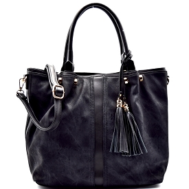 AB700 Tassel Accent Distressed Color Tote Black