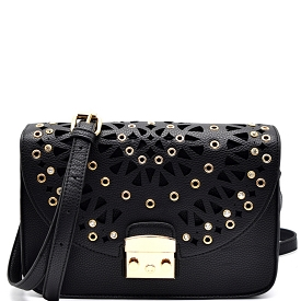 SG134 Rhinestone Embellished Laser-Cut Detail Flap Cross Body Black