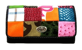 SPT026 Patchwork Turn-Lock Checkbook Wallet Black