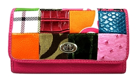 SPT026 Patchwork Turn-Lock Checkbook Wallet Fuschia