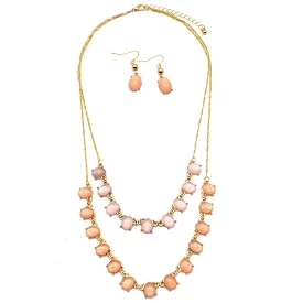 COS7081 Double Layer Faux Gem Chain Necklace Set Pink