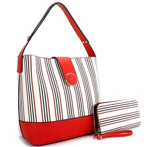 ES3662 Pinstripe Print 3-Compartment Hobo Wallet SET Red/Red