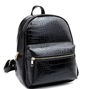 PC2181C Crocodile Print Multi-Pocket Roomy Fashion Backpack Black