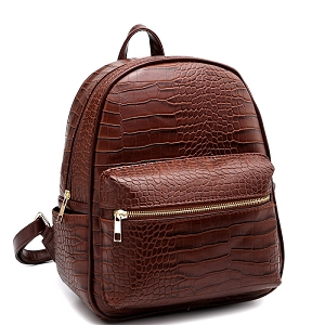 PC2181C Crocodile Print Multi-Pocket Roomy Fashion Backpack Coffee