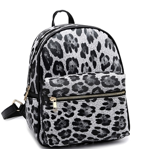 PC2181C Leopard Print Multi-Pocket Roomy Fashion Backpack Black