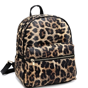PC2181C Leopard Print Multi-Pocket Roomy Fashion Backpack Brown