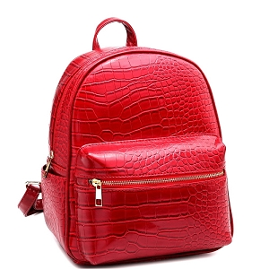 PC2181C Crocodile Print Multi-Pocket Roomy Fashion Backpack Red