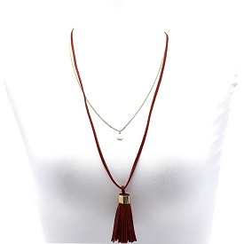 CWN0416 Double Layer Tassel Accent Long Necklace Burgundy