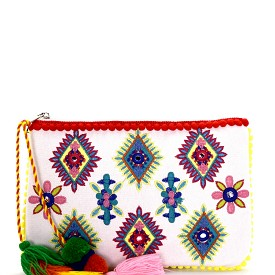 PPC5532 Colorful Thread Tassel Accent Embroidery Clutch Apricot