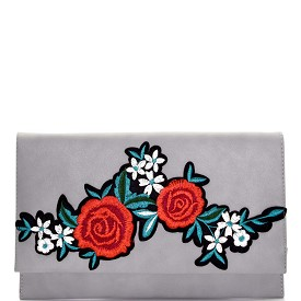 PPC5605 Flower Embroidery Flap Clutch Gray