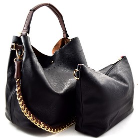 Q0004 (Q0004-3) Chain Accent 2 in 1 Hobo Black