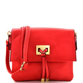71270A Tied String Accent Compartment Flap Cross Body Coral