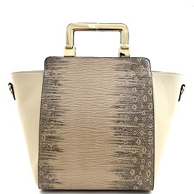 71561A Lizard Skin Print Hardware Handle Wing Satchel Beige