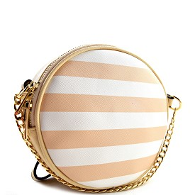 81008 Stripe Print Chain Accent Round Cross Body Beige