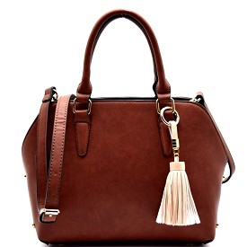 81322 Tassel Accent 3 Compartment Classy Satchel Brown