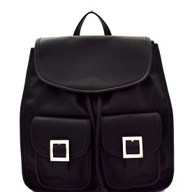 87816 Buckle Accent Multi-Pocket Drawstring Fashion Backpack Black