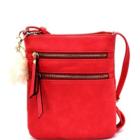 GY055 Pom Pom Accent Multi Pocket Cross Body Coral