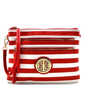 ST035 Stripe Print Multi Zipper Saffiano Emblem Cross Body Red